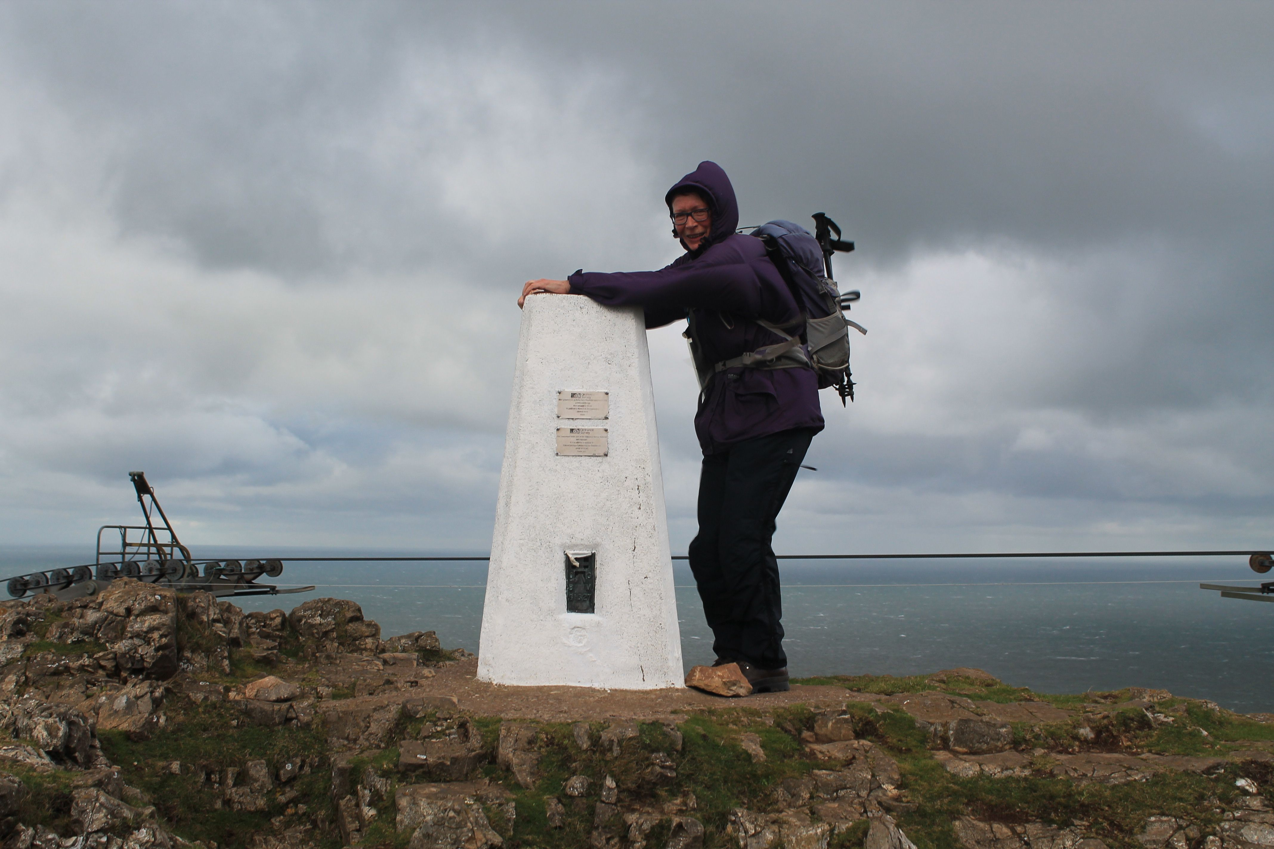 Debbie L on a very windy Great Orme summit