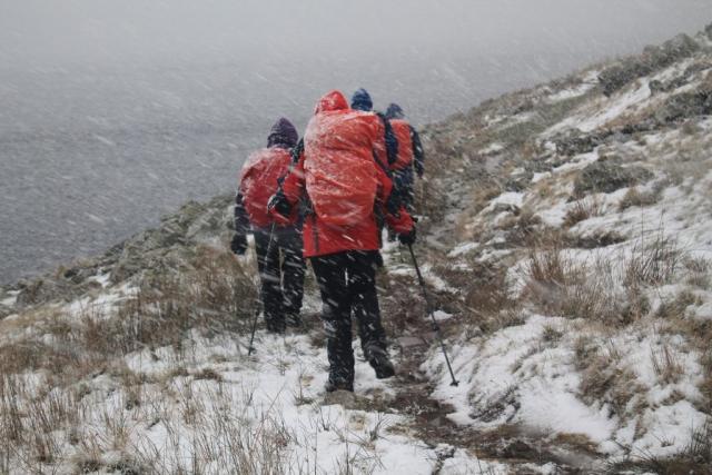 Blizzard on shore of Llyn Cowlyd
