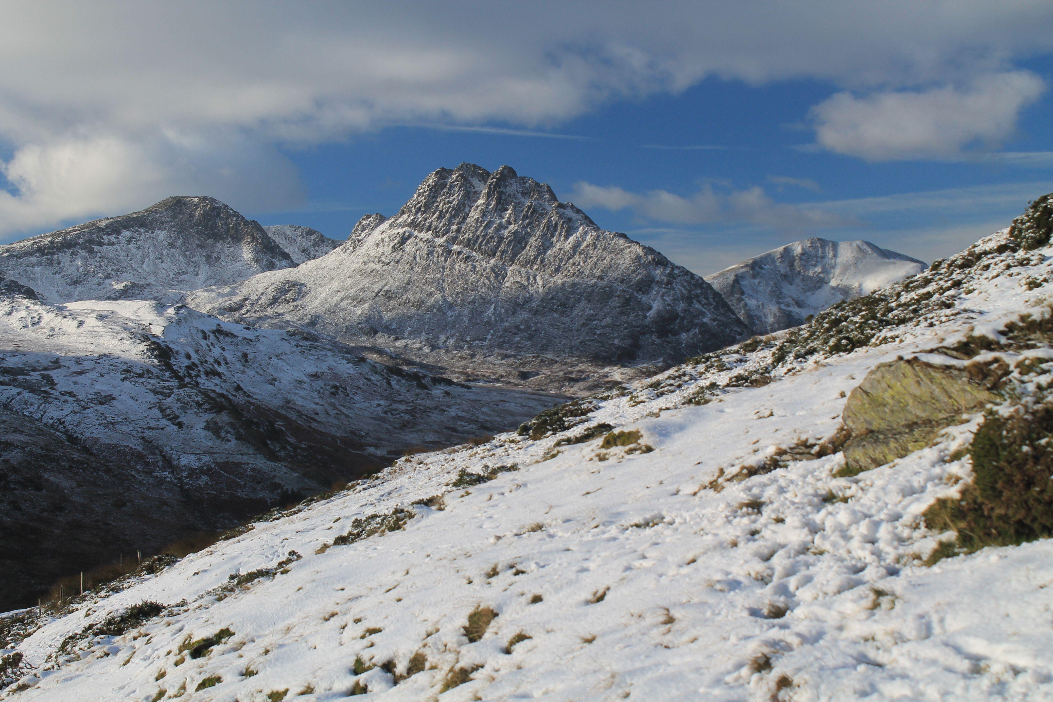 Tryfan from the lower slopes of Pen yr Helgi Du