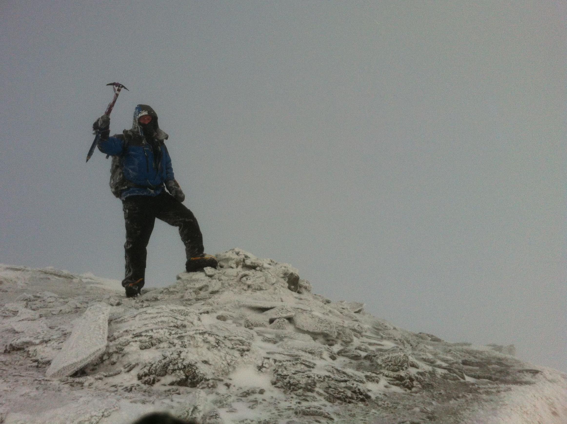 Simon W on the summit of Stob Binnein