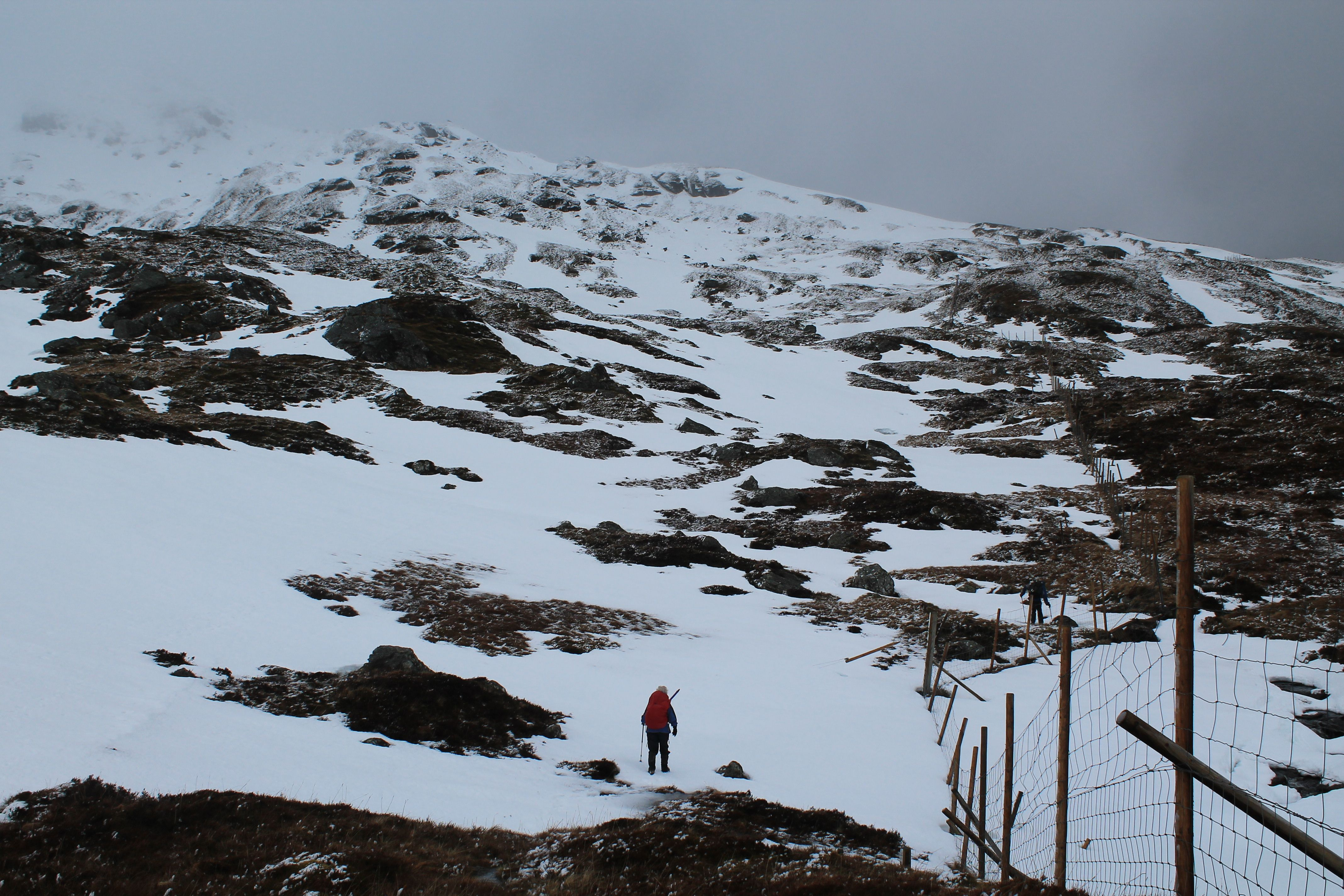 Mari heading up Ben More from the north east