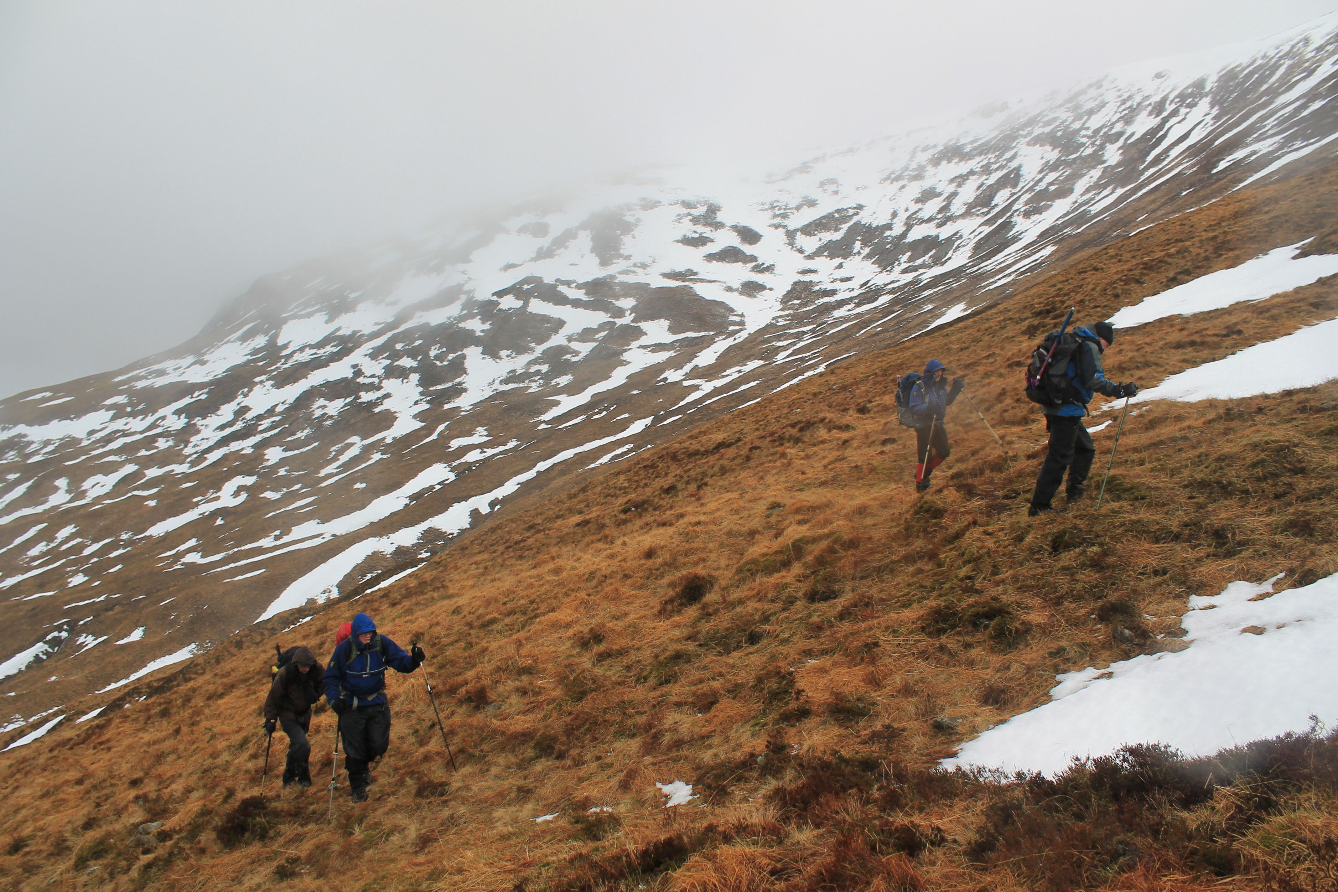 Doggedly heading up the slopes of Beinn Mhic-Mhonaidh