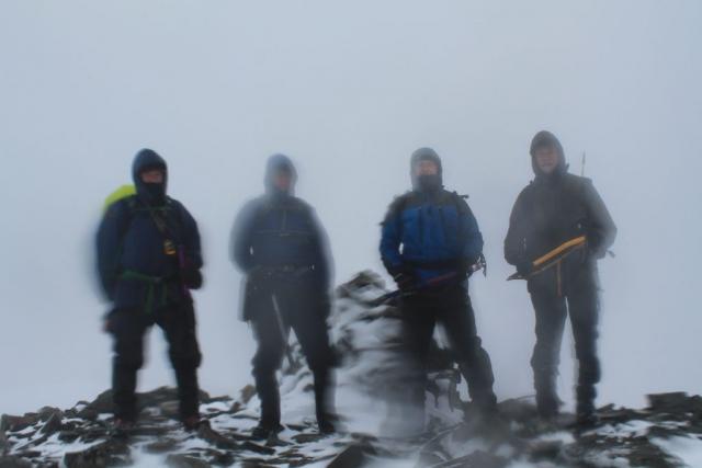 Mike D, Mick G, Simon W & Stuart E on the summit of Beinn Mhic-Mhonaidh