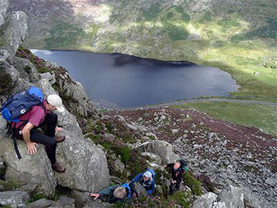 Group scrambling on Tryfan.