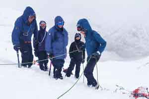 group of montaineers training in Winter