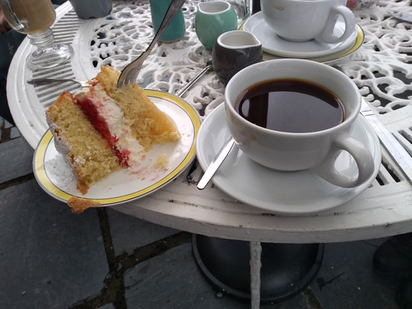 slice of cake and cup of coffee